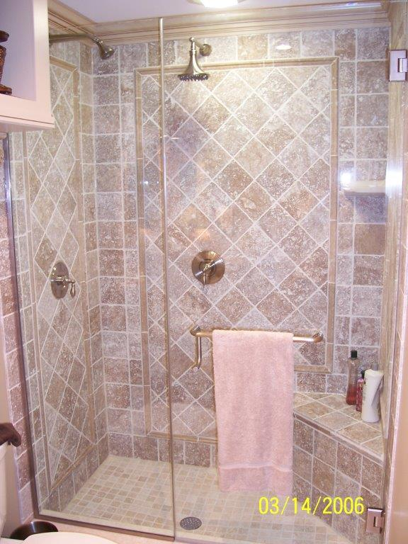 Wenkat Design and Construction tile shower with glass door