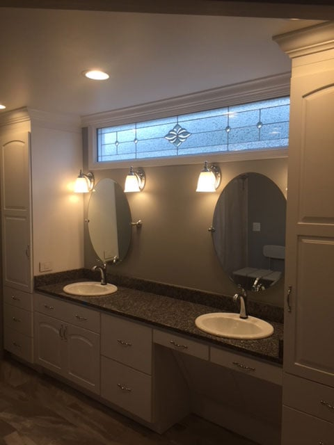 New bathroom vanity remodeled by Wenkat Design and Construction