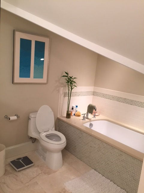 New toilet and bathtub installed by Wenkat Design and Construction